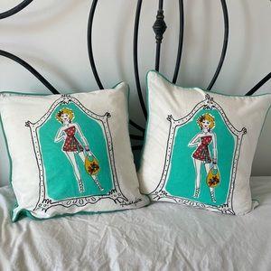 Set of 2 Rachel Kate Linen Pillow Covers - NWT